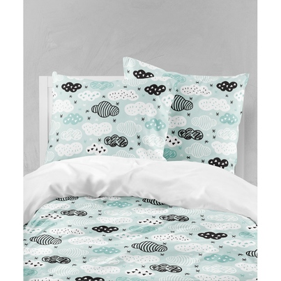 Pościel dziecięca Chmurki na mięcie do łóżeczka, łóżka