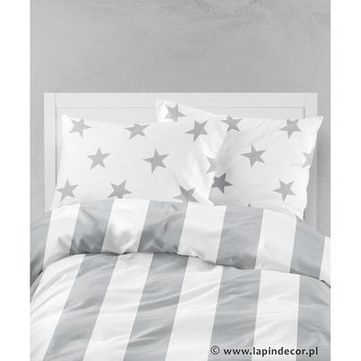 Pościel dziecięca do łóżeczka Scandi I - szare gwiazdy i pasy