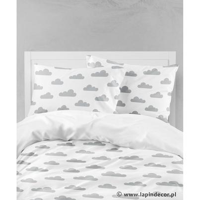 Bawełniana Pościel dziecięca do łóżeczka Szare Chmurki 140x200 dla dziewczynki