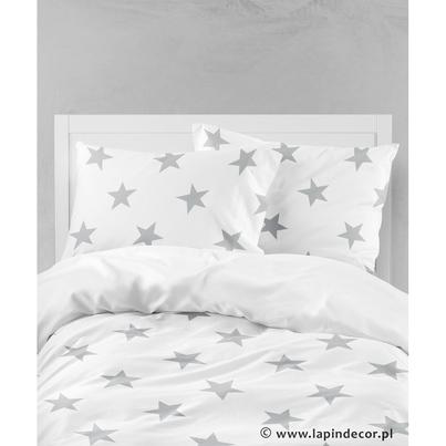 Bawełniana Pościel dziecięca do łóżeczka Szare Gwiazdki - Big Stars 100x135 dla chłopca
