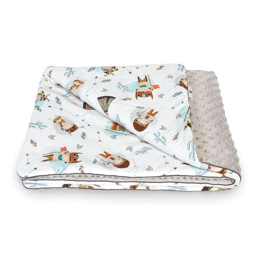 Bawełniany Kocyk Minky dla niemowlaka - Indianie 75x100 do wózka, fotelika i łóżeczka.