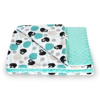 Bawełniany Kocyk Minky dla niemowlaka - Leniwce 75x100 do wózka, fotelika i łóżeczka.