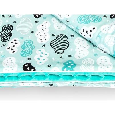 Bawełniany Kocyk Minky dla niemowlaka - Chmurki na mięcie 75x100 do wózka, fotelika i łóżeczka.