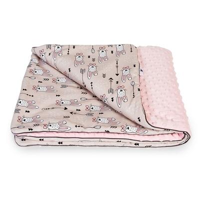 Bawełniany Kocyk Minky dla niemowlaka - Króliki 75x100 do wózka, fotelika i łóżeczka.