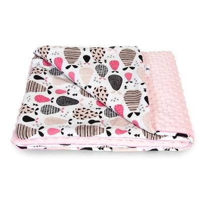 Bawełniany Kocyk Minky dla niemowlaka - Gruszki 75x100 do wózka, fotelika i łóżeczka.
