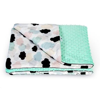 Bawełniany Kocyk Minky dla niemowlaka - Pastelowe Chmurki 75x100 do wózka, fotelika i łóżeczka.
