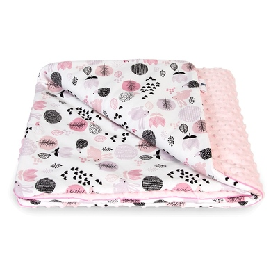 Bawełniany Kocyk Minky dla niemowlaka - Króliki z Jeżykami 75x100 do wózka, fotelika i łóżeczka.