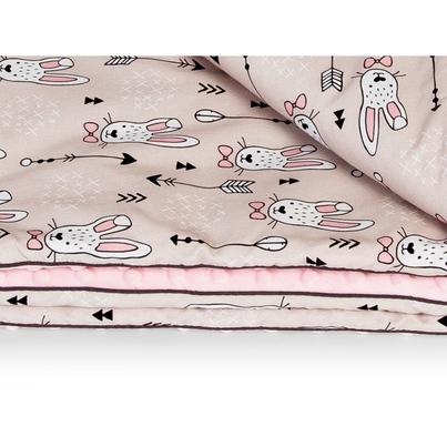 Kocyk Minky dla przedszkolaka - Króliki 100x135 dla dziewczynki.