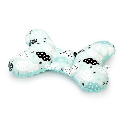 Poduszka Motylek Chmurki na mięcie/Minky dla noworodka do wózka i fotelika