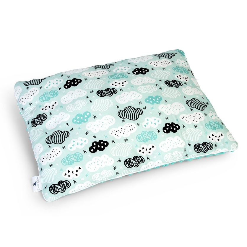 Duża puszysta poduszka dla dzieci - Chmurki na mięcie 40x60
