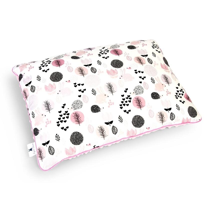 Pastelowa Duża poduszka dziecięca Króliczki z Jeżykami 40x60 Minky do łóżeczka