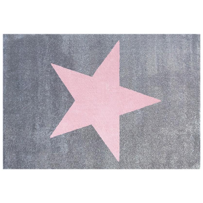 Dywan dziecięcy 80x150cm - Star Pink/Szary do pokoju dziecięcego