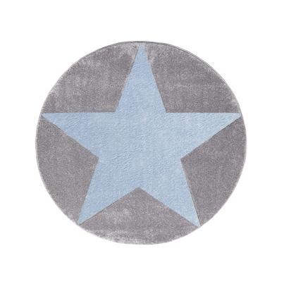 Dywan dziecięcy okrągły 133cm - Round Star Blue/Szary do pokoju dziecięcego