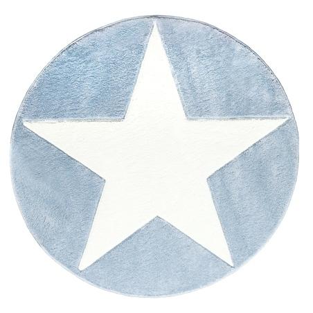 Dywan dziecięcy - ROUND STAR White/Blue