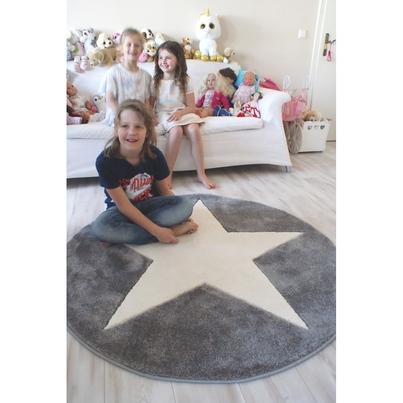 Dywan dziecięcy okrągły 133cm - Round Star White/Różowy do pokoju dziecięcego