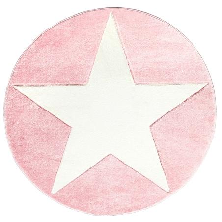 Dywan dziecięcy 133cm - ROUND STAR White/Pink