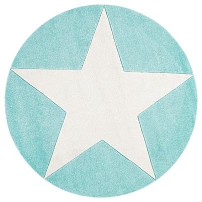 Dywan dziecięcy okrągły 133cm - Round Star White/Miętowy do pokoju dziecięcego