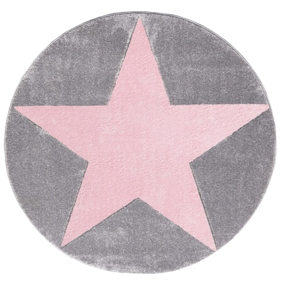 Dywan dziecięcy okrągły 133cm - Round Star Pink/Szary do pokoju dziecięcego