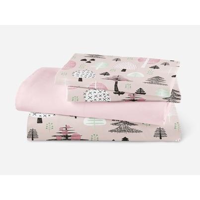 Bawełniana Pościel dziecięca do łóżeczka Różowy Las 140x200 dla dziewczynki