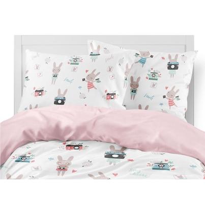 Bawełniana Pościel dziecięca do łóżeczka Rabbit Girl 100x135 dla dziewczynki