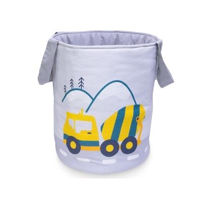 Materiałowy kosz na zabawki dla chłopca z uszami - Betoniara dla dzieci