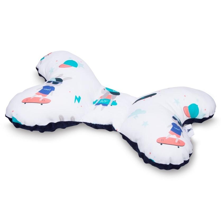 Poduszka Motylek Skaters/Minky dla noworodka do wózka i fotelika