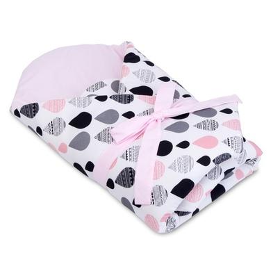 Pastelowy Rożek niemowlęcy bawełniany wiązany Krople I dla dziewczynki