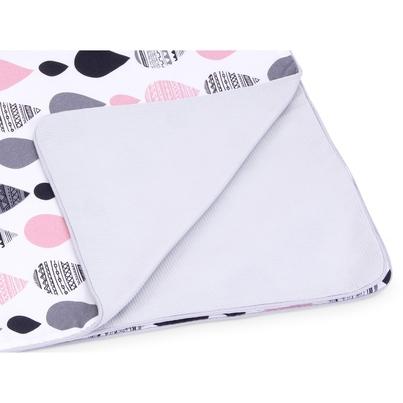 Pastelowy Kocyk wafelkowy letni dla niemowlaka - Krople I 75x100 do wózka i łóżeczka.