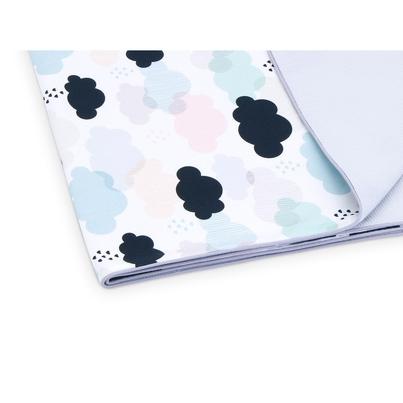 Pastelowy Kocyk wafelkowy letni dla niemowlaka - Pastelowe Chmurki 75x100 do wózka i łóżeczka.
