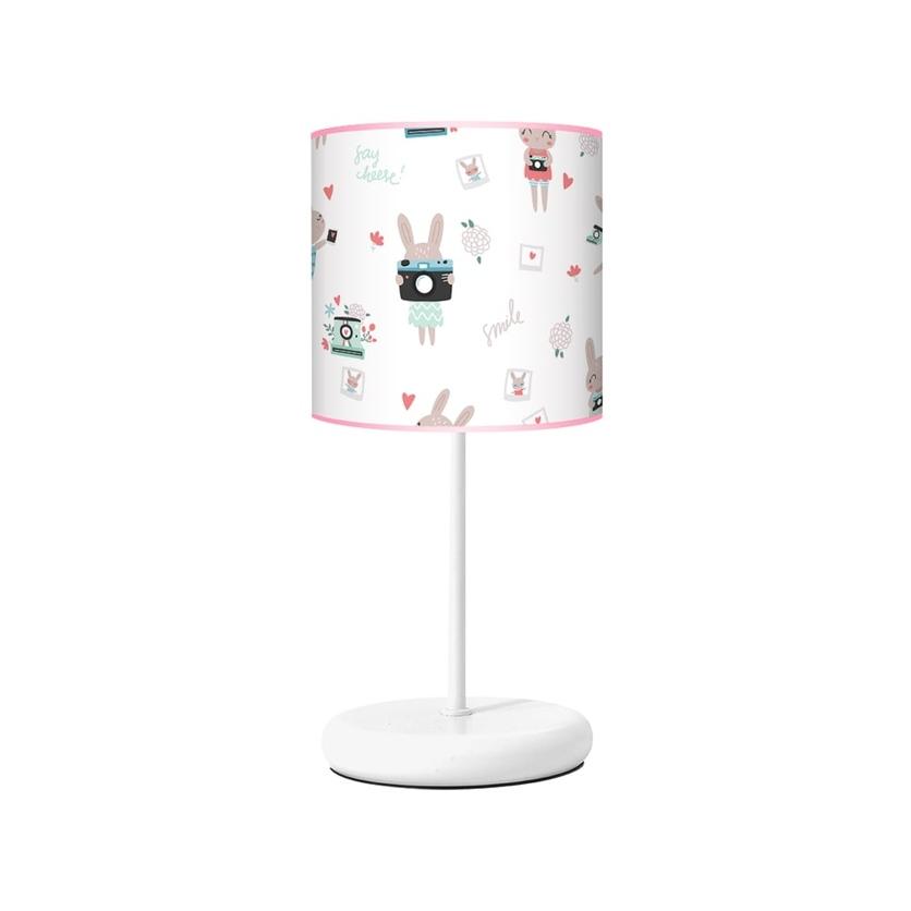 Lampka nocna dla dziewczynki biało-różowa Rabbit Girl do pokoju dziecięcego