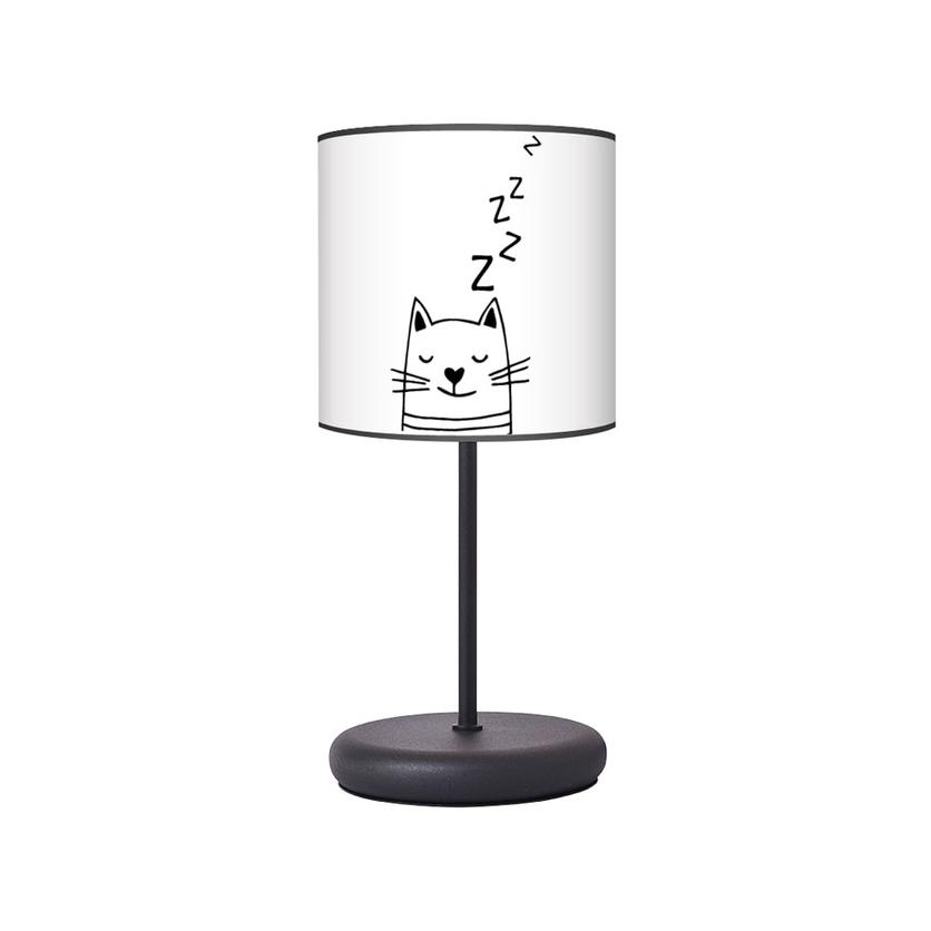 Lampka nocna dla dziecka czarno-biała Kotek Kłopotek do pokoju dziecięcego