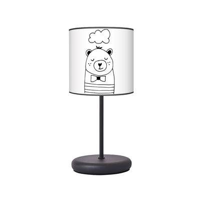 Lampka nocna dla dziecka czarno-biała Misio Pysio do pokoju dziecięcego