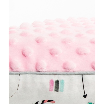 Bawełniany Kocyk Minky dla niemowlaka - Indianki 75x100 do wózka, fotelika i łóżeczka.