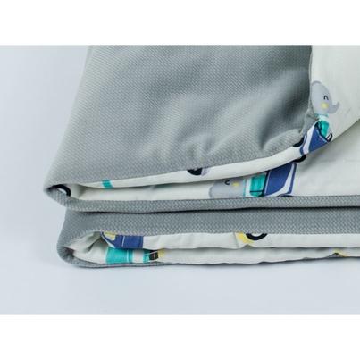 Bawełniany Kocyk Velvet dla niemowlaka - Auta 75x100 do wózka, fotelika i łóżeczka.