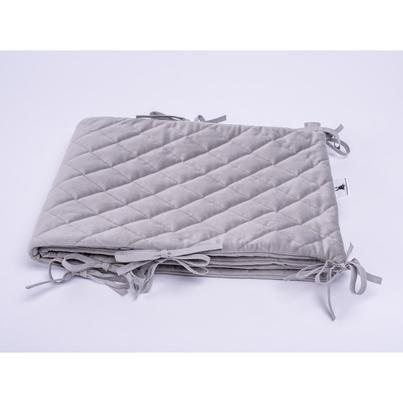 Ochraniacz do łóżeczka Velvet pikowany szary 30x180 dla chłopca