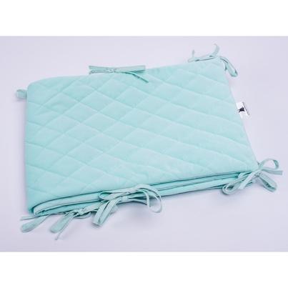 Ochraniacz do łóżeczka Velvet pikowany miętowy 30x180 dla dziewczynki