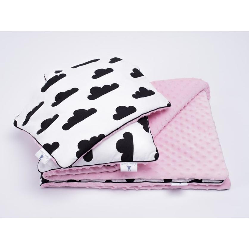 Dziecięcy Zestaw minky kocyk i poduszki - Chmurki 75x100 dla dziewczynki