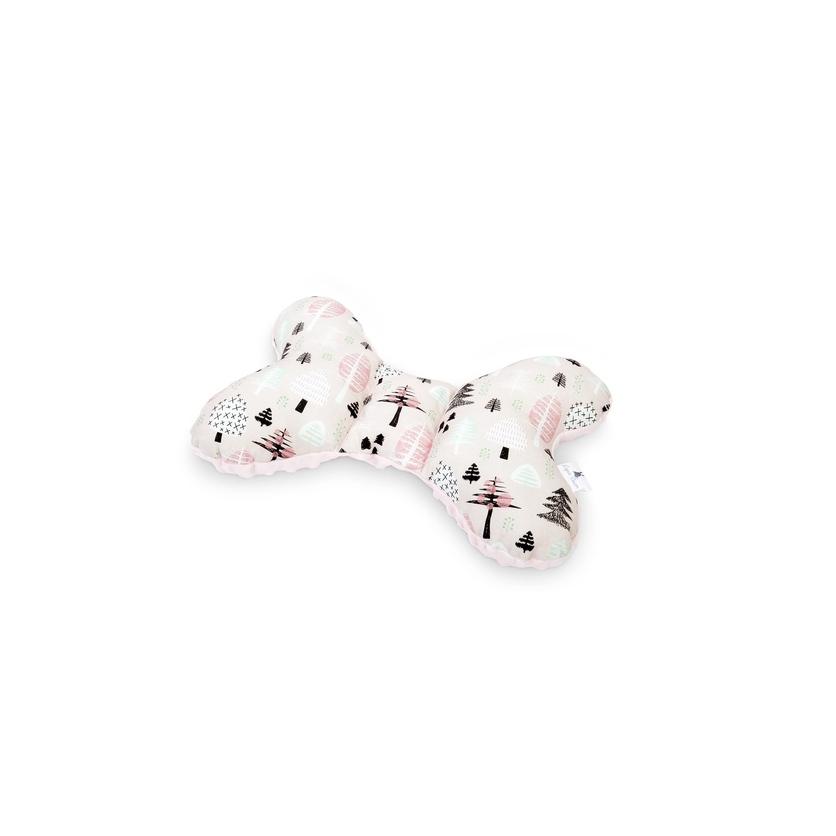 Poduszka Motylek Różowy Las/Minky dla noworodka do wózka i fotelika