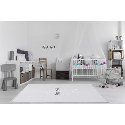 Dywan dziecięcy 140x190cm - Śpiące oczka - Jasny szary do pokoju dziecięcego