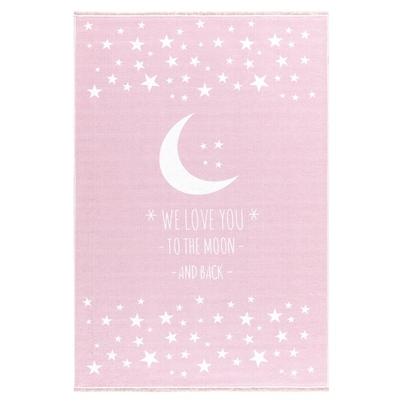 Dywan dziecięcy - Księżyc - Różowy do pokoju dziecięcego
