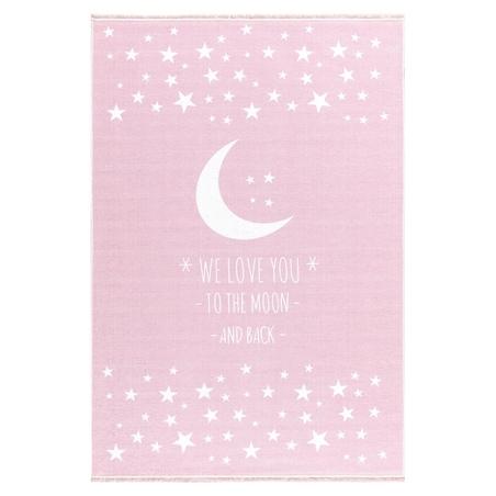 Dywan dziecięcy 100x160 - Księżyc - Różowy do pokoju dziecięcego