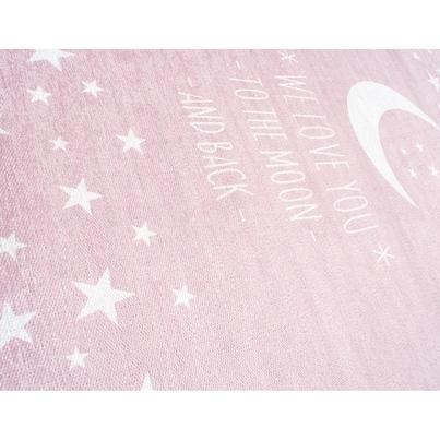 Dywan dziecięcy 100x160cm - Księżyc - Różowy do pokoju dziecięcego do pokoju dziecięcego
