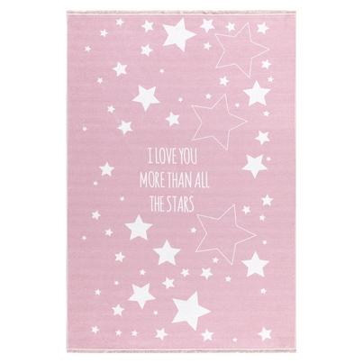 Dywan dziecięcy 100x160cm - Gwiazdki na niebie - Różowy do pokoju dziecięcego