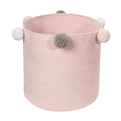 Kosz na zabawki pleciony z pomponami dla dziewczynki - Basket Bubbly Różowy dla dzieci