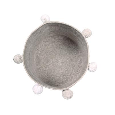 Kosz na zabawki pleciony z pomponami - Basket Bubbly Grey dla dzieci