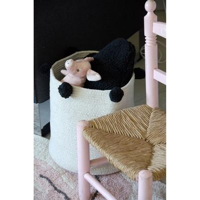 Kosz na zabawki pleciony z pomponami - Basket Bubbly Black dla dzieci