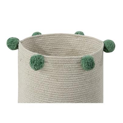 Kosz na zabawki pleciony z pomponami - Basket Bubbly Green dla dzieci