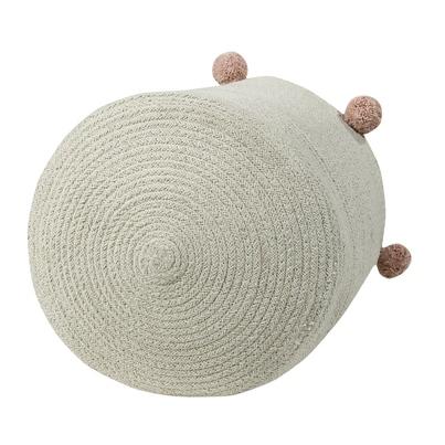 Kosz na zabawki pleciony z pomponami - Basket Bubbly Nude dla dzieci