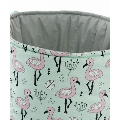 Materiałowy kosz na zabawki z uszami dla dziewczynki - Flamingi dla dzieci
