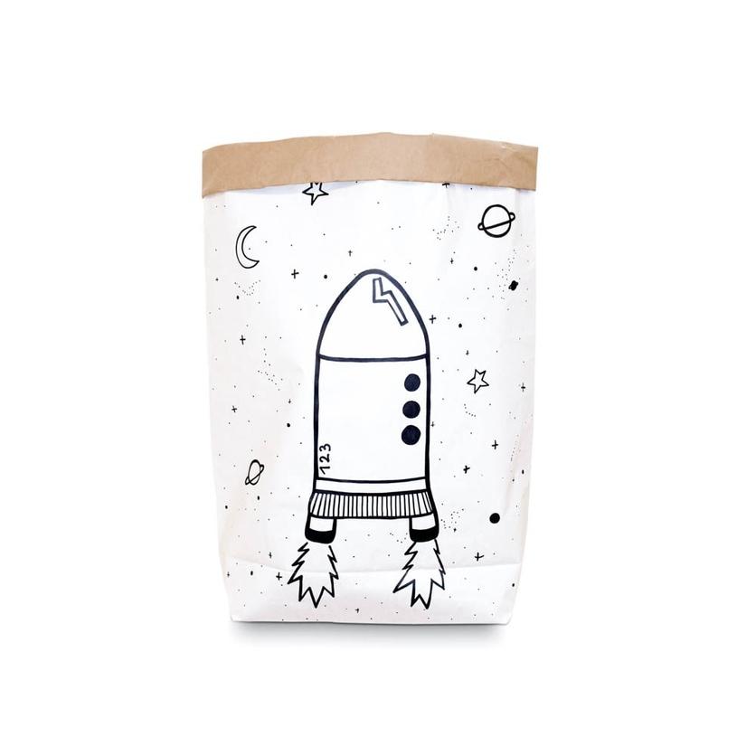 Papierowy worek na zabawki Rakieta dla dzieci
